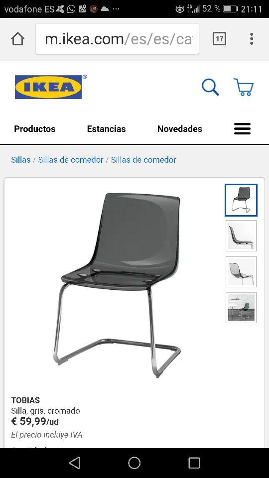 Sillas cocina IKEA modelo Tobias de segunda mano por 35 € en Alcalá ...