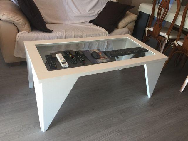 Mesa centro cristal blanca
