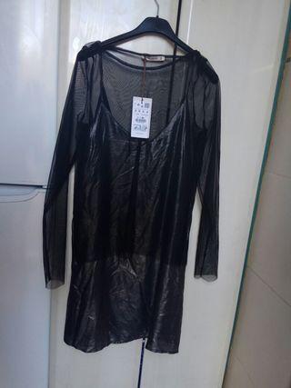 vestido plateado pull & bear