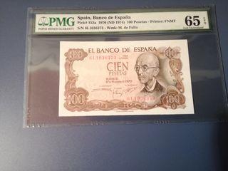 Billete 100 pesetas 1970 certificado PMG