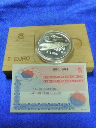 Moneda 5 euros plata Nieuport aviacion 1997