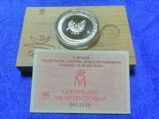 Moneda 2000 pesetas plata 1991 barca tamusiens