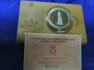 Moneda 2000 pesetas plata 1990 castellers