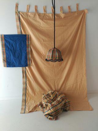 Juego cortinas, lámpara y tapetes para vestir saló