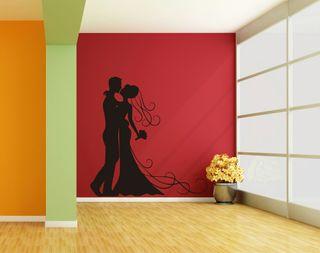 Vinilos decorativos boda novios pareja silueta