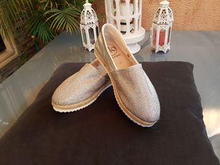 OFERTA Zapatos alpagargatas yute piel. 38. NUEVAS.
