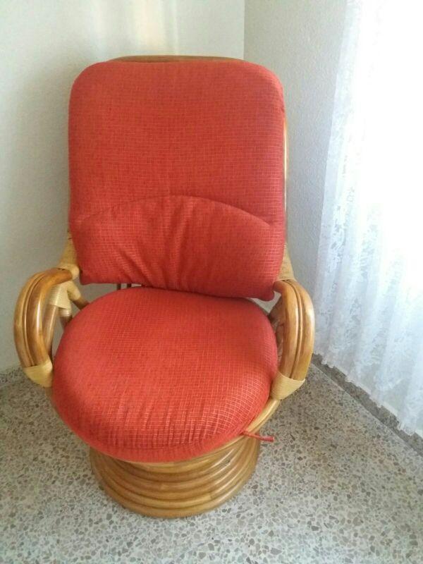 sillón mecedora bambú mimbre (pareja)