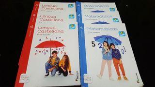 Libros de Lengua y Matemáticas de 3 y 4 primaria.