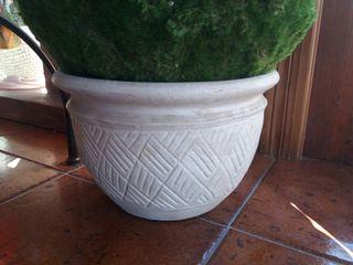 Macetero Cerámica Blanco 30 cm diametro