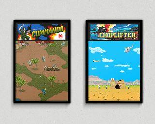 Cuadros videojuegos Commando y Choplifter