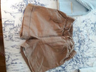 pantalosn corto niño lino beige talla 2
