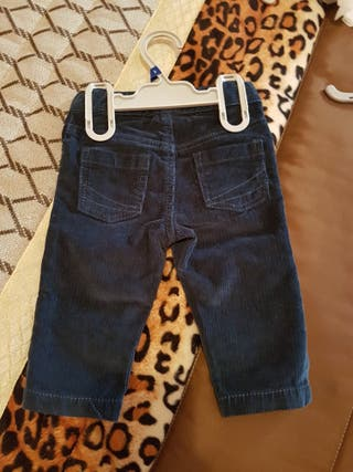 pantalón bebe t 3 meses azul de pana