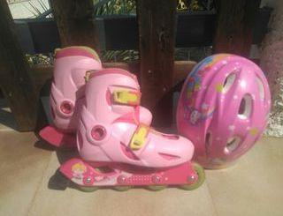patines niña y casco