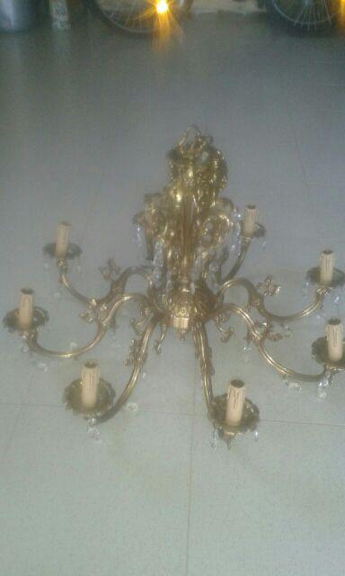 LAMPARA BRONCE TECHO 8 BRAZOS