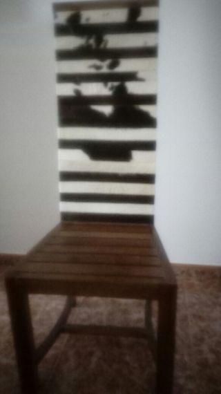 silla con tiras de piel de caballo