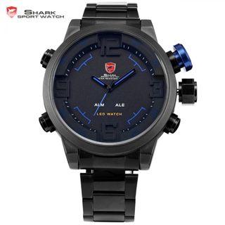 Reloj shark negro y azul pantalla dual led2