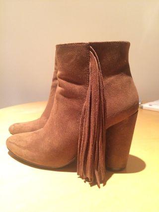 Brown velvet boots