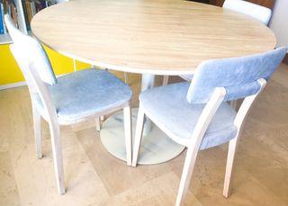 Mesa redonda ø120cm madera roble 4 sillas diseño