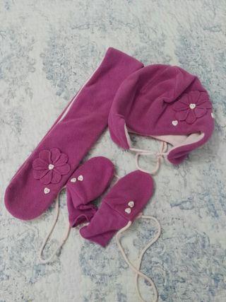 Ropa niña conjunto gorro, bufanda y manoplas