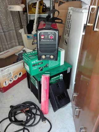 radial de batería, soldador y taladradora súper