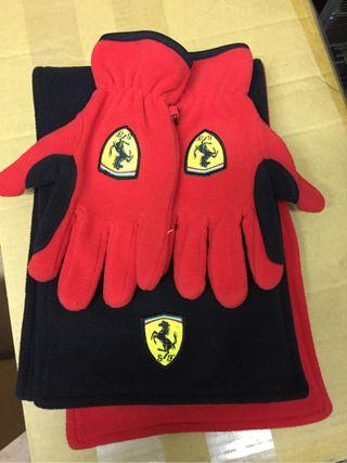Guantes y bufanda Ferrari