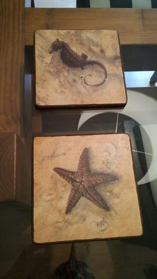 Pareja de cuadros madera