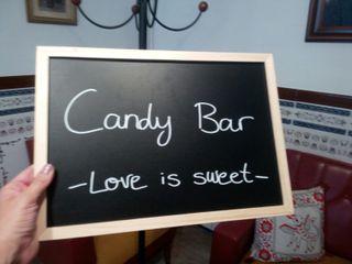 pizarra candy bar