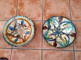 Platos decoración barro pintado