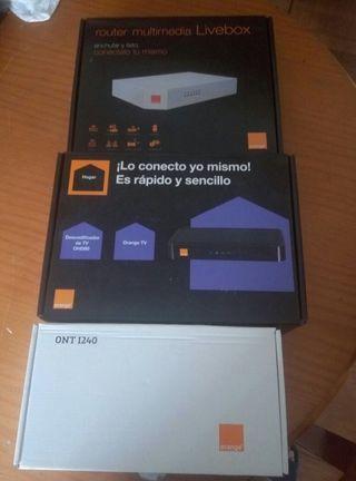 Router wi-fi , fibra óptica y decodificador tv