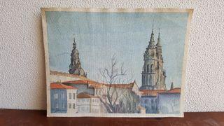 Acuarela Santiago de Compostela.