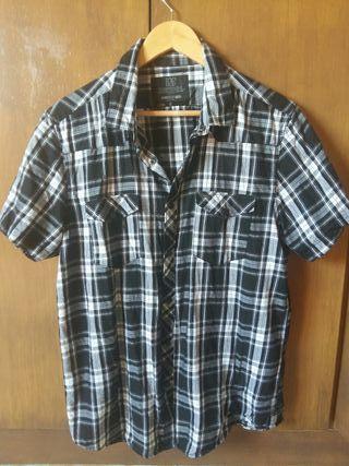 camisa cuadros negra y blanca talla L nueva