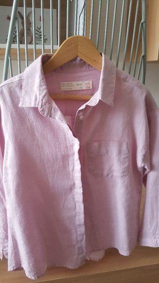 camisa zara rosa empolvado ralla 4