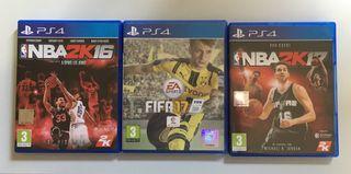 Juegos PS4. Fifa 17. NBA 2k17 2k16