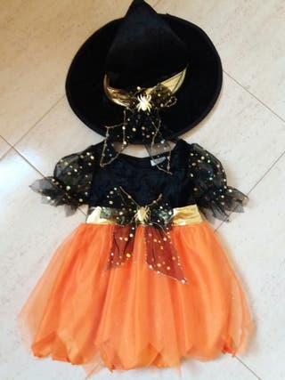 Halloween niña talla 2.Bruja Calabaza