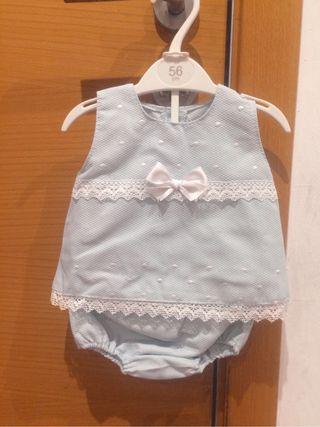 Vestido bebé piqué azul