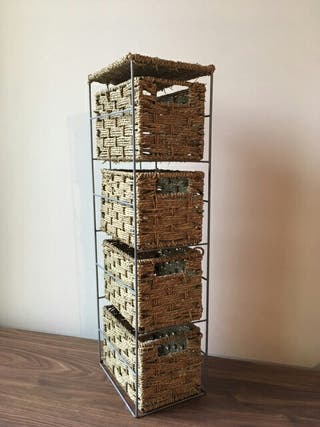 Slimline 4 drawers seagrass storage tower