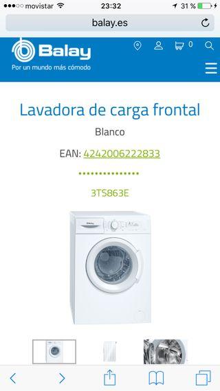 Lavadora Balay 3TS863E. 1000 rpm. Clase A.
