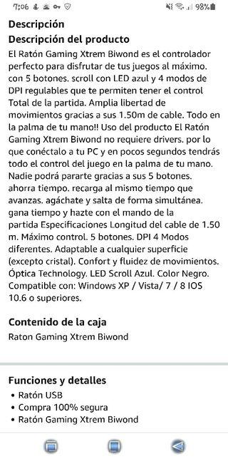 RATON GAMING BIWOND XTREM 5 BOTONES 2400 DPI