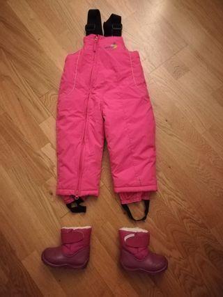 Mono, peto pantalón de ski 18 meses y botas 20/21
