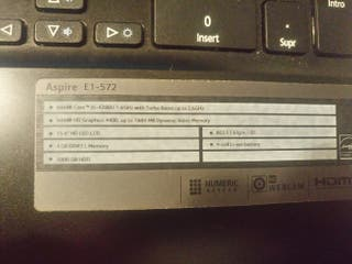 Ordenador portátil acer Aspire con SSD