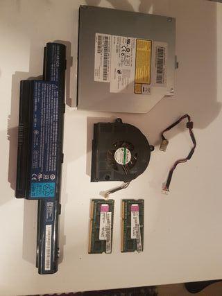 bateria ,disquetera,ventilador,2 tarj. de memoria