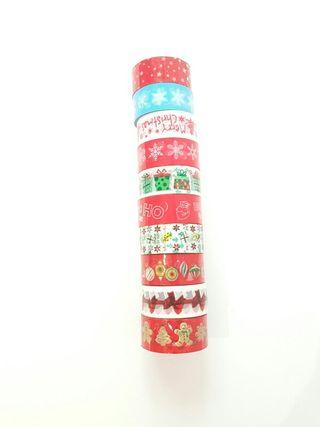 Pack 10 deco tape navideños. Scrapbook