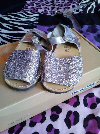 sandalias de brillo niña