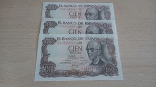 100 pesetas serie 9A y 9B