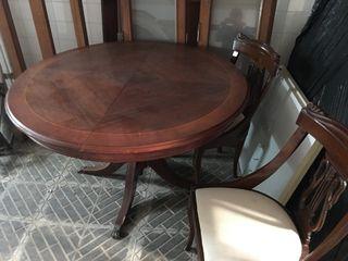 Mesa de comedor de caoba moderna con ampliación a ovalada d