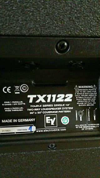 vendo 4 altavoces EV TX 1112.500W 8 ohm.1400€