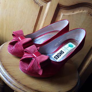 Zapatos tacón piel rojos vintage