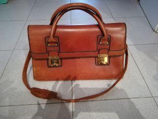 bolso maletin vintage de piel