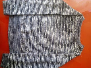 Jersey jaspeado azul marino y blanco