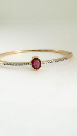 Vintage Pulsera Oro 18k Diamantes y Turmalina
